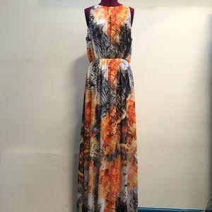 Orange & black maxi dress by H&M